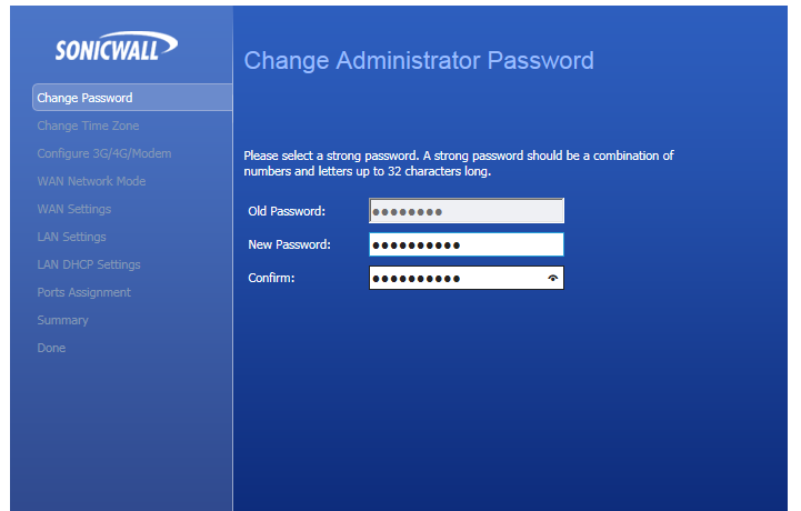 Sonicwall changing password