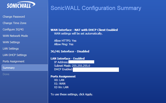Sonicwall Configuration Summary