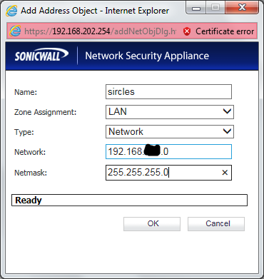 Sonicwall create remote VPN subnet