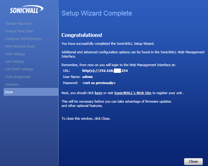 Sonicwall set-up wizard complete