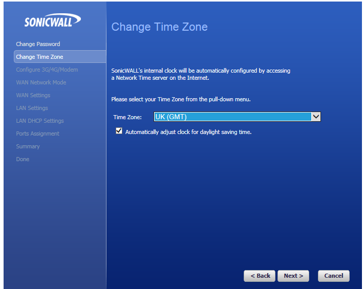 Sonicwall set time-zone