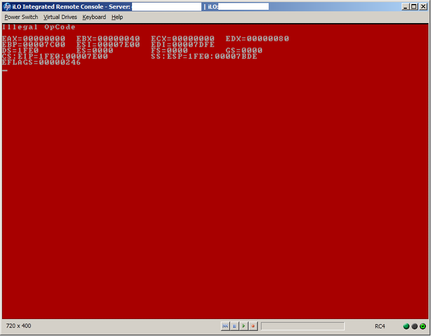 HP DL360 G7 Red Screen of Death Illegal OpCode