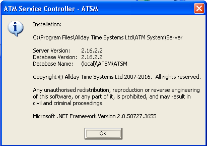 AllDay Time Manager server service keeps stopping on Windows XP