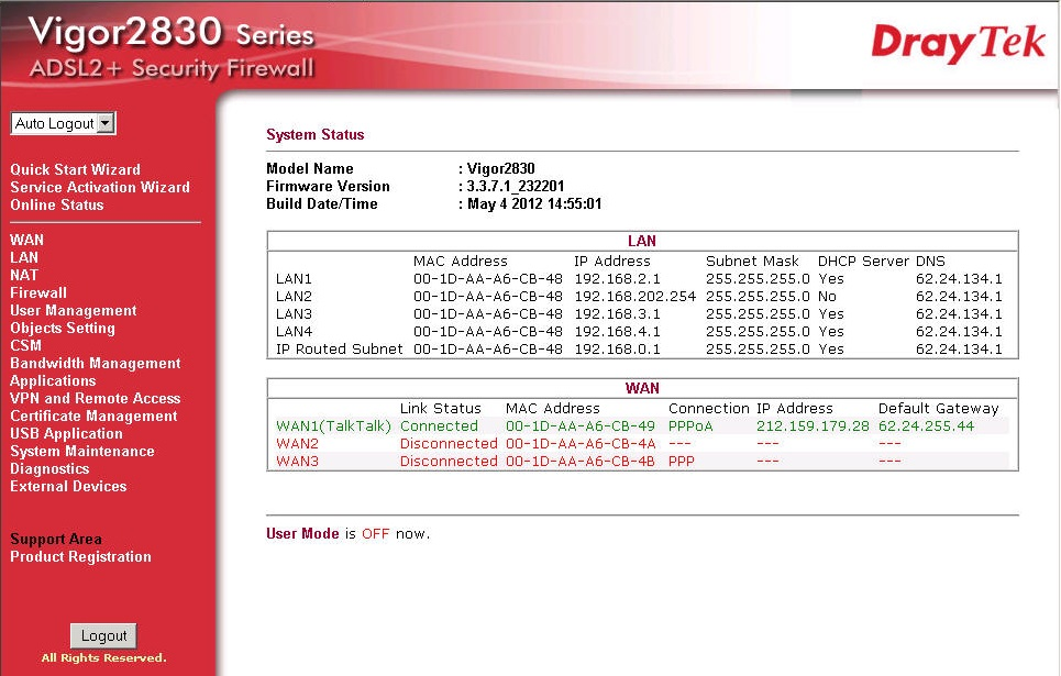 DrayTek 2830 System Status Screen