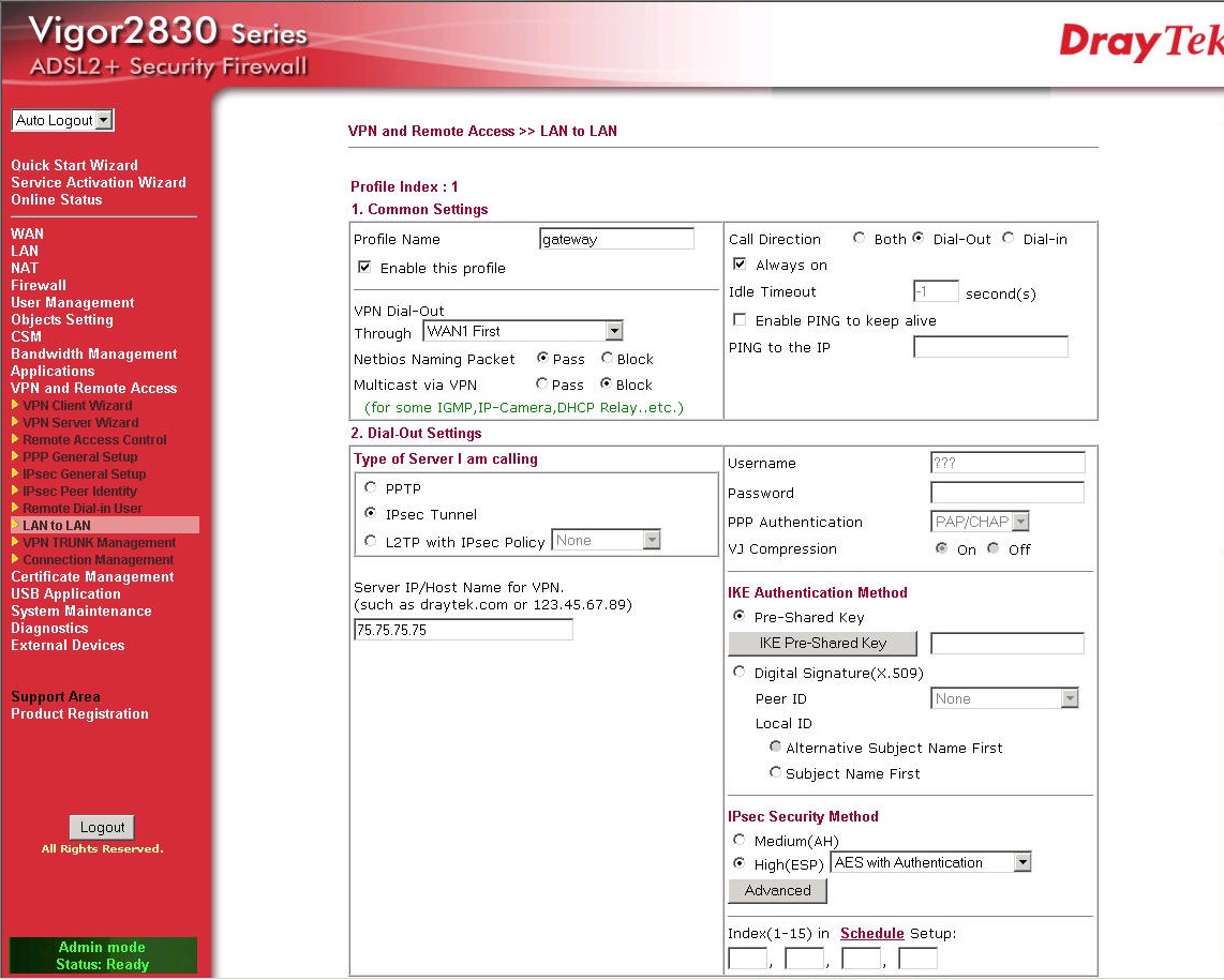 DrayTek Vigor 2830 New LAN to LAN VPN